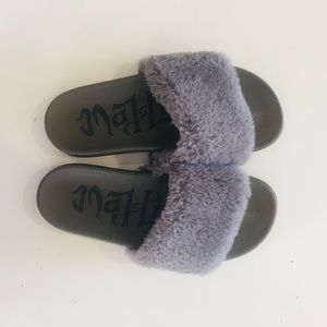 Mad Love Gray Faux Fur Soft Fluffy Slides